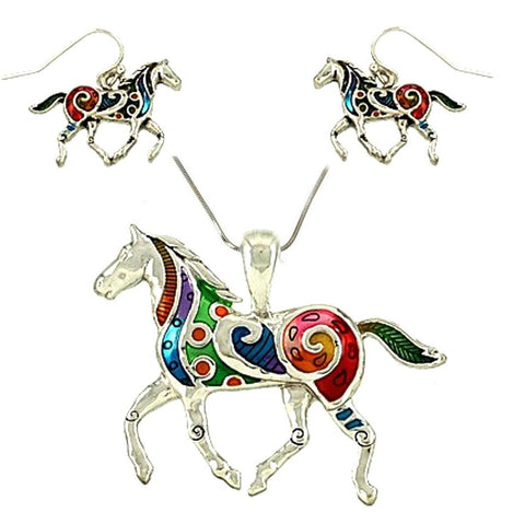 Horse of Many Colors Necklace & Earrings set