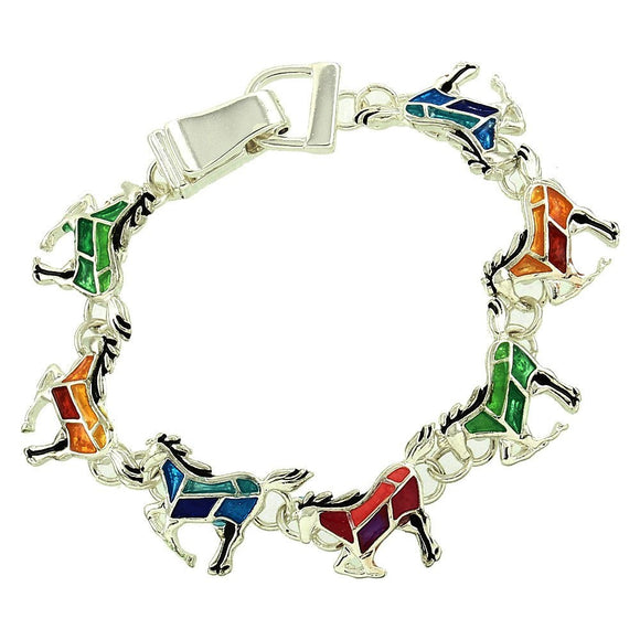 Stained-Glass Design Galloping Horses Magnetic-Clasp Bracelet