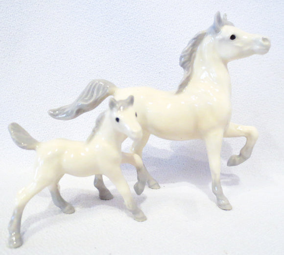 Alabaster Prancing Arabian Mare and Foal