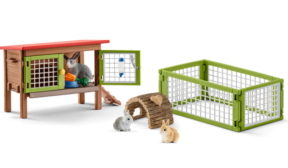 Rabbit Hutch with Bunnies