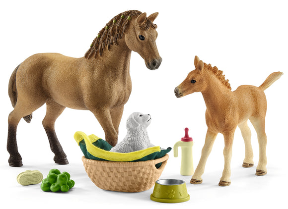 Baby Animal Care Set with Quarter Horse Mare & Foal
