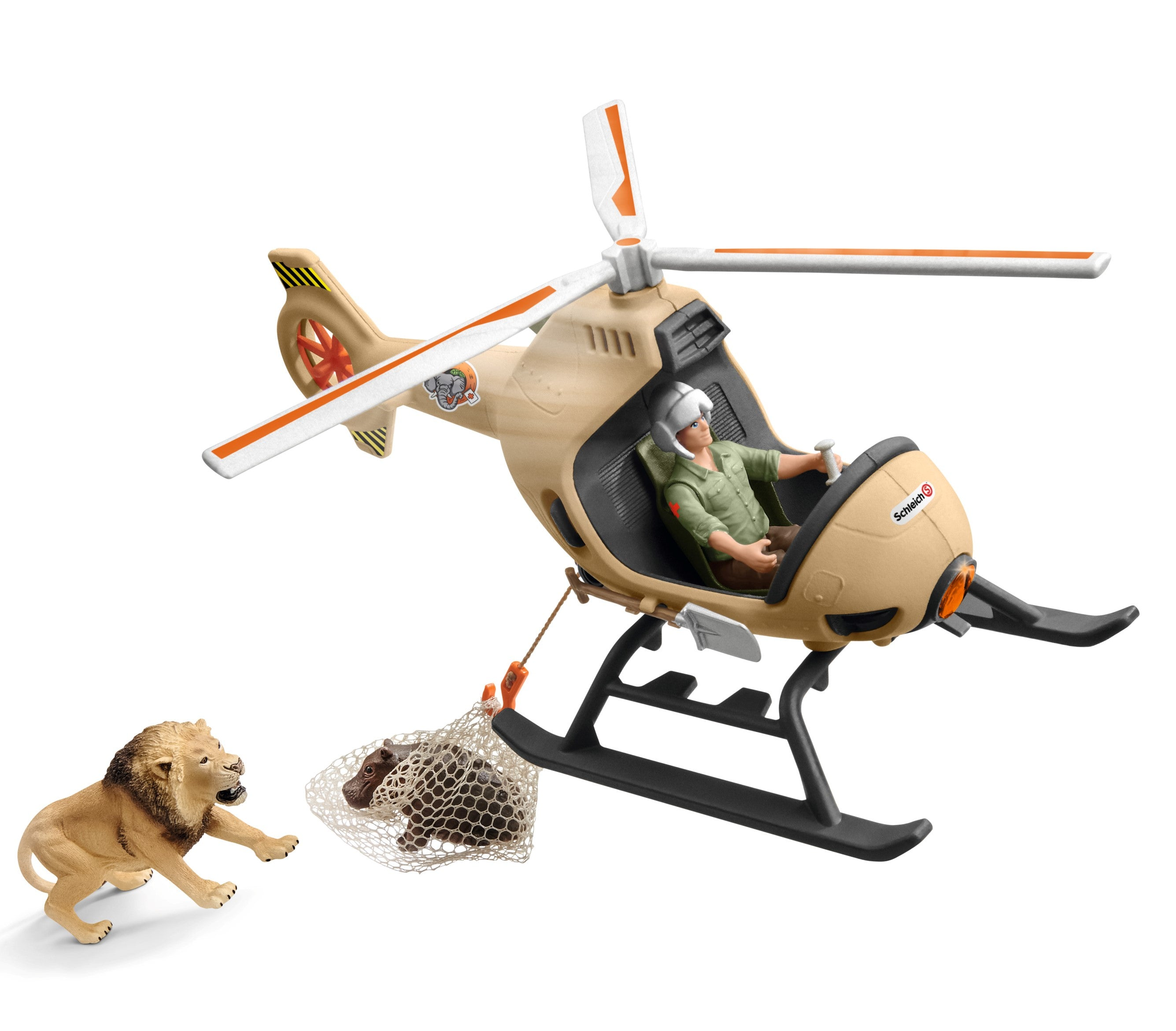 Animal Rescue Helicopter Set w/ Hippo and Lion