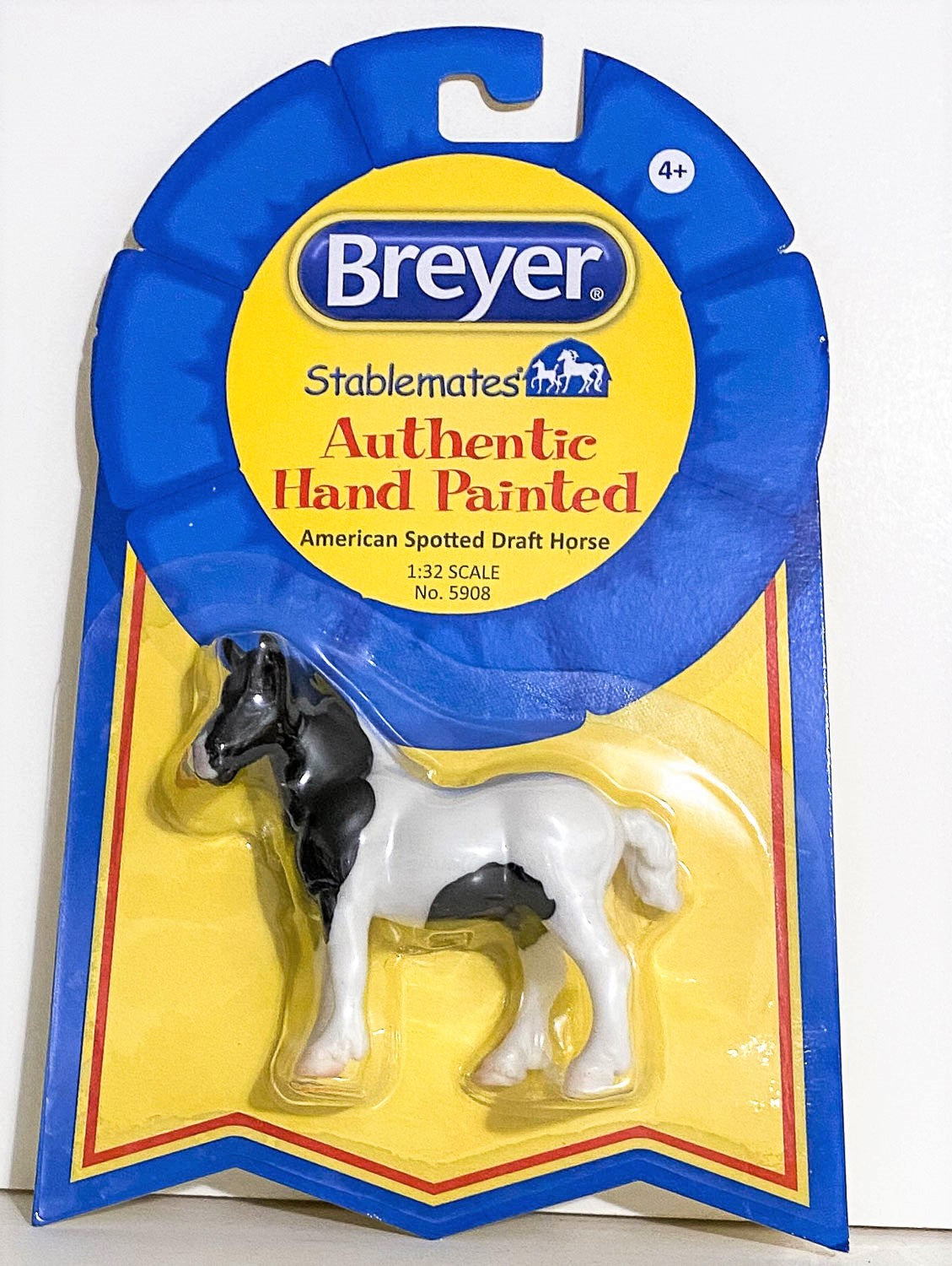 Breyer Stablemates American Spotted Draft Horse Black Pinto 5908 Triple Mountain Model Horses