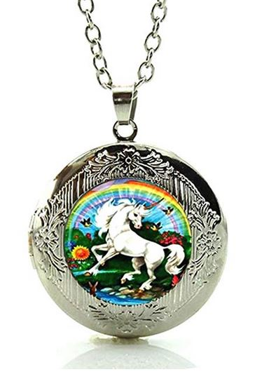 Dancing Unicorn Glass Cabochon Locket Necklace - triple-mountain