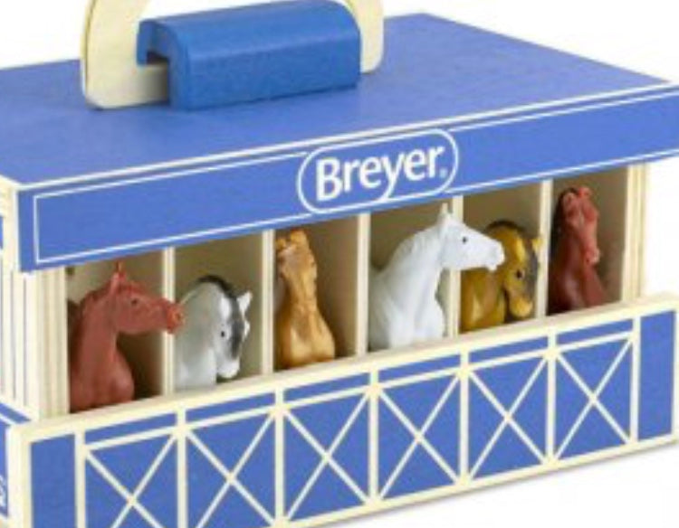 Breyer Farms Wooden Carry Stable with Horses