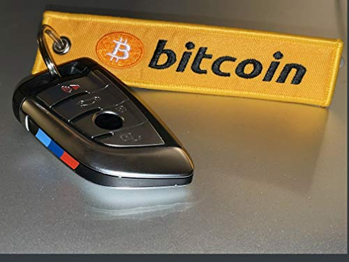 Bitcoin Keychain, Embroidered Flight Tag in Orange