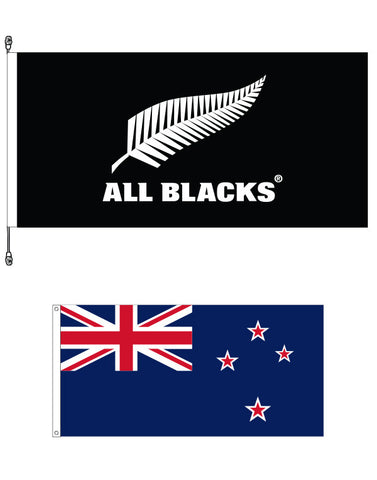All Blacks®  Premium Flag and New Zealand Supporters Flag Bundle. SAVE $15.00!