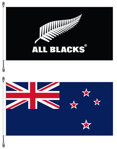 New Zealand Premium Flag and All Blacks®  Premium Flag Bundle. SAVE $15.00!