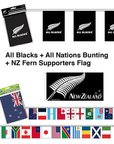 All Blacks, All Nations Bunting and Silver Fern Supporters Flag Bundle. SAVE $15.00!!