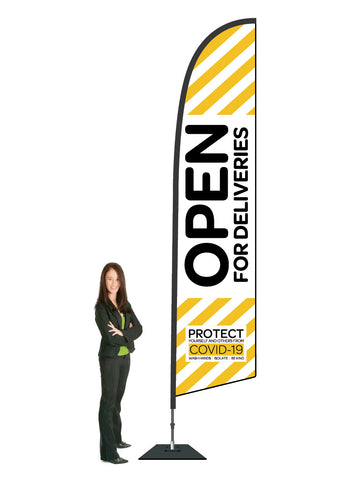 COVID-19 Durapole Flex Flag and Display. Premium.  Large.  3.5m High.  Priced From: