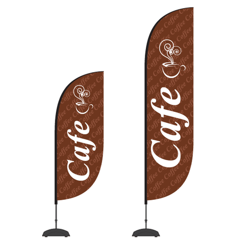 Cafe Flag and Display - Premium high strength. 2.5m or 3.5m high.  Save up to $40.00. Free Shipping in NZ  Priced from: