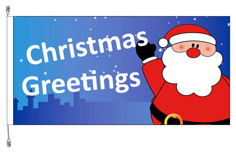 Christmas Greetings Santa Flag