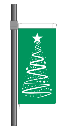 Green Christmas Ribbon Flag (Code: RT8)
