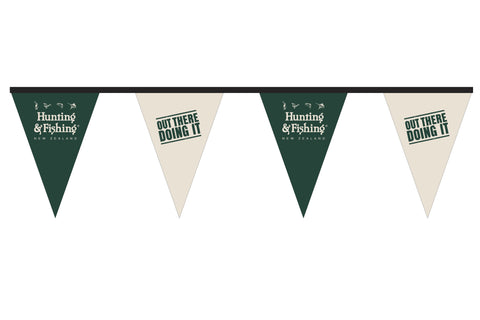 Hunting and Fishing 'Out There Doing It' Green and White Bunting. 5m lengths