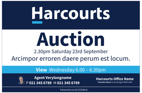 Harcourts Auction Sign
