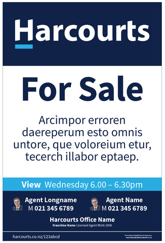Harcourts For Sale Sign