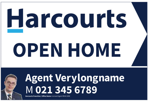 Harcourts Directional Sign with Agent Info and White Background