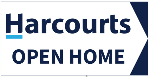 Harcourts Directional Sign White Background