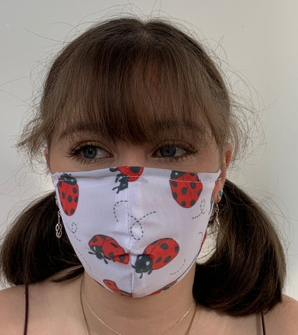 FACE MASKS WITH HELIX™ FILTER - LADY BIRD DESIGN.  ADULT, YOUTH AND CHILD SIZES..