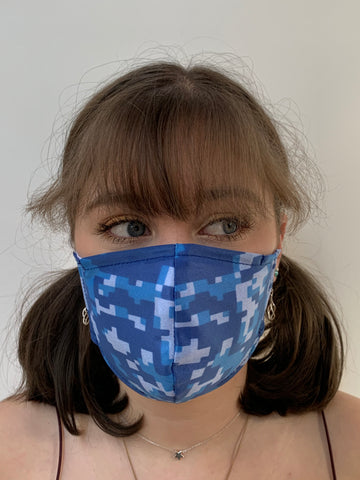 FACE MASKS WITH HELIX™ FILTER - DIGITAL BLUE CAMO DESIGN.  ADULT AND CHILD SIZES. PRICED FROM: