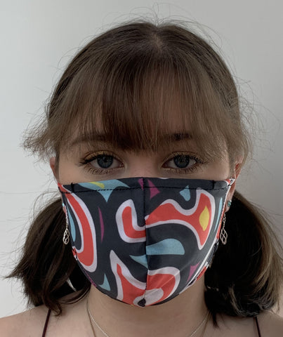 FACE MASKS WITH HELIX™ FILTER -RETRO SWIRL DESIGN ADULT AND CHILD SIZES. PRICED FROM: