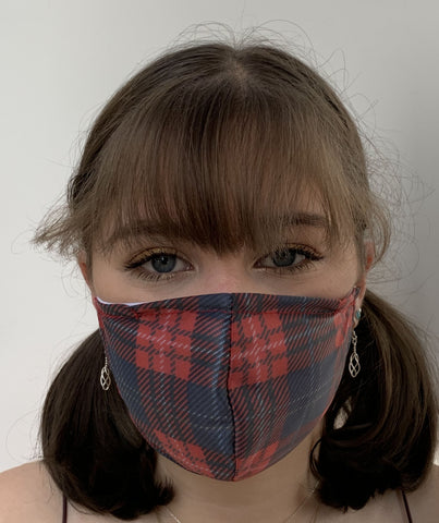 FACE MASKS WITH HELIX™ FILTER -RED TARTAN DESIGN ADULT AND YOUTH SIZES. PRICED FROM: