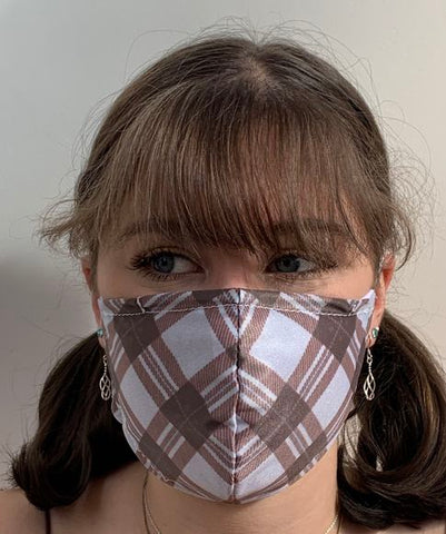 FACE MASKS WITH HELIX™ FILTER - BROWN TARTAN DESIGN ADULT, YOUTH AND CHILD SIZES. PRICED FROM:
