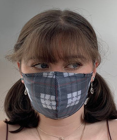 FACE MASKS WITH HELIX™ FILTER - GREY TARTAN DESIGN ADULT AND YOUTH SIZES. PRICED FROM: