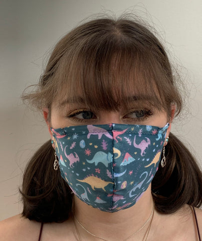 FACE MASKS WITH HELIX™ FILTER -DINOSAUR DESIGN ADULT AND CHILD SIZES. PRICED FROM: