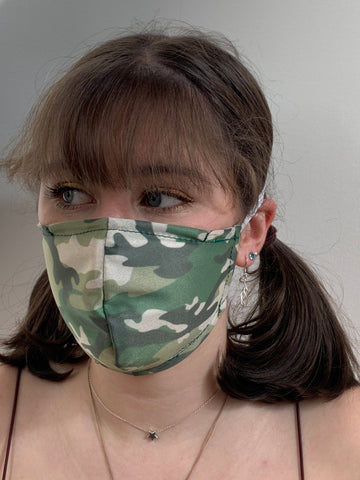 FACE MASKS WITH HELIX™ FILTER -GREEN GILLY CAMO DESIGN ADULT AND CHILD SIZES. PRICED FROM: