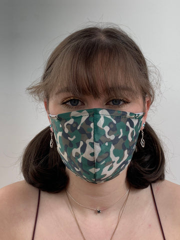 FACE MASKS WITH HELIX™ FILTER - FOREST GREEN CAMO DESIGN ADULT AND CHILD SIZES. PRICED FROM: