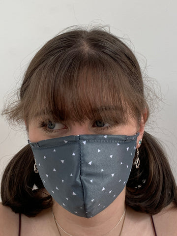 FACE MASKS WITH HELIX™ FILTER - GREY TRIANGLE DESIGN ADULT AND CHILD SIZES. PRICED FROM:
