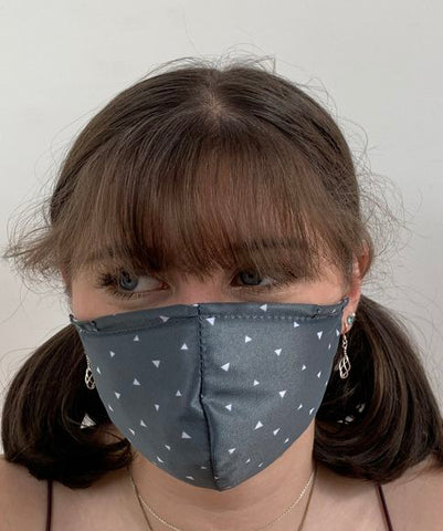 GREY TRIANGLE MASK.  ADULT AND CHILD SIZES. SPECIAL 2 FOR 1 DEAL!