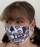 FACE MASKS WITH HELIX™ FILTER - DAY OF THE DEAD DESIGN ADULT AND CHILD SIZES. PRICED FROM: