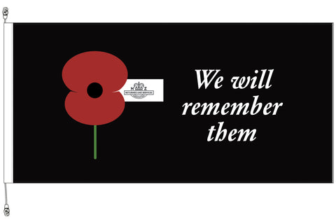 We Will Remember Them Horizontal Flag - Premium. RSA Member Special.