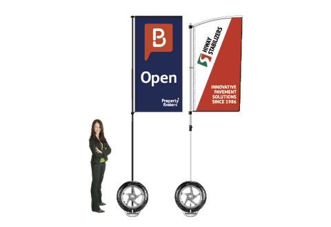 Durapole Flare Flag Display.  Compactable Pole Display System.
