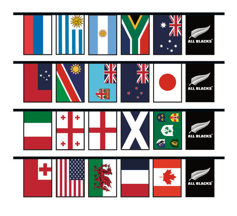 All Nations Rugby World Cup Bunting  with All Blacks® Flags. 5m lengths