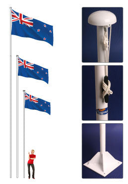 Supreme Flag Pole.  NZ's most popular flag poles!     Free All Blacks® or Country Flag with 5m, 7m or 10m poles!  Worth $80.00 -$100.00!   Priced From: