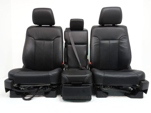 Ford F150 Front Leather Seats & Jump Seat Console 2009 2010 2011 2012 2013 2014