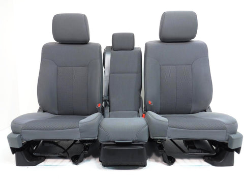 Ford F150 Front Cloth Seats & Jump Seat Console 2009 2010 2011 2012 2013 2014