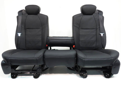 Ford Super Duty Seats Super Cab Set Black Leather F250 F250 F550 F650 Extended 1999 2000 2001 2002 2003 2004 2005 2006 2007
