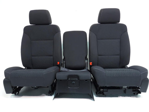 GMC Chevy Silverado Sierra Front Seats & Jump Seat Black Cloth 2014 2015 2016 2017 2018 '