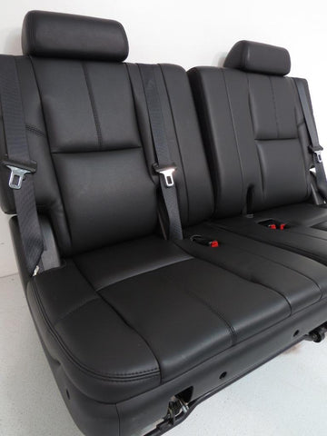 Chevy GMC Tahoe Yukon Suburban OEM Black Leather 3rd Third Row Seats 2007 2008 2009 2010 2011 2012 2013 2014