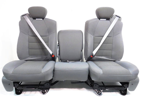 Ford Super Extended Cab Grey Cloth Front Seats 1999 2000 2001 2002 2003 2004 2005 2006 2007