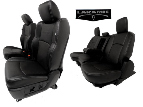 Dodge Ram Seats Laramie Crew Cab Black Leather Front Rear Seat 2009 2010 2011 2012 2013 2014 2015 2016 2017 2018