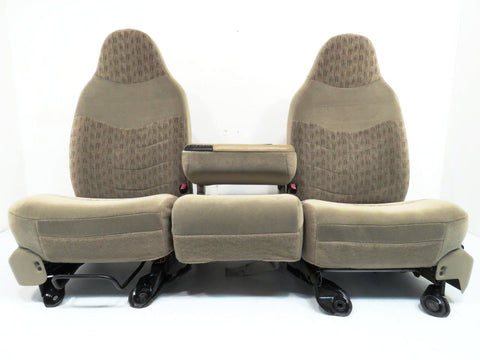 Ford Super Duty Tan Cloth Seats With Jump Seat Console 1999 2000 2001 2002 2003 2004 2005 2006 2007