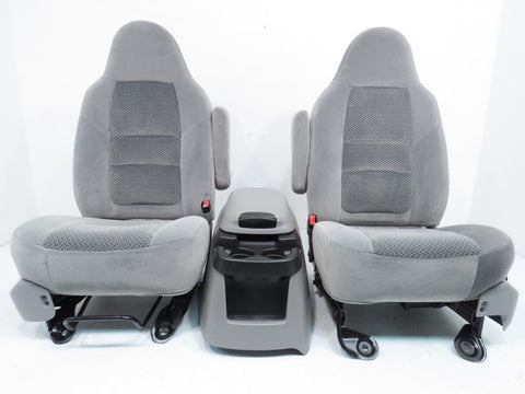 Ford Super Duty Grey Cloth Seats With Console 1999 2000 2001 2002 2003 2004 2005 2006 2007