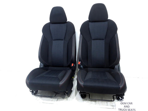 Subaru Impreza Sedan Cloth Sport Seats Black Red Stitching 2017 2018 2019