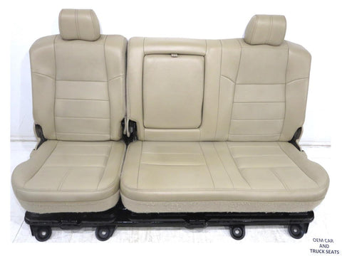 Ford Super Duty F250 F350 Tan Leather Crew Cab Rear Seat W/ Tool Tray 2008 2009 2010