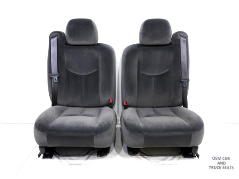 Gm Silverado Tahoe Suburban Oem Charcoal Cloth Front Seats 2003 2004 2005 2006 '